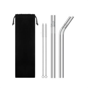 reusable metal straw kit with your logo